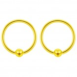 2pc Gold 16g Ball Closure Ring Captive Bead Piercing Lip Tragus Septum Cartilage Navel Forward Helix Rook Nose Belly Conch - 10mm