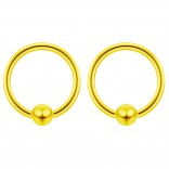 2pc Gold 16g Ball Closure Ring Captive Bead Piercing Lip Tragus Septum Cartilage Navel Forward Helix Rook Nose Belly Conch - 8mm