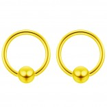 2pc Gold 18g Ball Closure Ring Captive Bead Piercing Lip Tragus Septum Cartilage Navel Forward Helix Rook Nose Belly Conch - 6mm