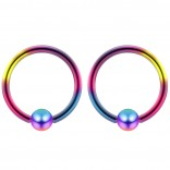 2pc Rainbow 16g Ball Closure Ring Captive Bead Piercing Lip Tragus Septum Cartilage Navel Forward Helix Rook Nose Belly Conch - 8mm