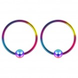 2pc Rainbow 18g Ball Closure Ring Captive Bead Piercing Lip Tragus Septum Cartilage Navel Forward Helix Rook Nose Belly Conch - 10mm