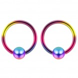 2pc Rainbow 18g Ball Closure Ring Captive Bead Piercing Lip Tragus Septum Cartilage Navel Forward Helix Rook Nose Belly Conch - 6mm