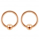 2pc Rose Gold 16g Ball Closure Ring Captive Bead Piercing Lip Tragus Septum Cartilage Navel Forward Helix Rook Nose Belly Conch - 6mm