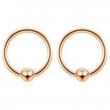 2pc Rose Gold 16g Ball Closure Ring Captive Bead Piercing Lip Tragus Septum Cartilage Navel Forward Helix Rook Nose Belly Conch - 8mm