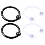 4pc Black Anodized 16 Gauge Captive Hoop Ring Piercing Jewelry 16g Nose Eyebrow Tragus Cartilage Septum 3mm Ball Circular Barbell Horseshoe Retainers - 10mm 3/8