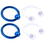 4pc Blue Anodized 16 Gauge Captive Hoop Ring Piercing Jewelry 16g Nose Eyebrow Tragus Cartilage Septum 3mm Ball Circular Barbell Horseshoe Retainers - 8mm 5/16
