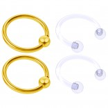 4pc Gold Anodized Anodized 16 Gauge Captive Hoop Ring Piercing Jewelry 16g Nose Eyebrow Tragus Cartilage Septum 3mm Ball Circular Barbell Horseshoe Retainers - 10mm 3/8