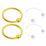 4pc Gold Anodized Anodized 16 Gauge Captive Hoop Ring Piercing Jewelry 16g Nose Eyebrow Tragus Cartilage Septum 3mm Ball Circular Barbell Horseshoe Retainers - 12mm 1/2