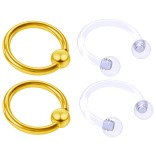 4pc Gold Anodized Anodized 16 Gauge Captive Hoop Ring Piercing Jewelry 16g Nose Eyebrow Tragus Cartilage Septum 3mm Ball Circular Barbell Horseshoe Retainers - 8mm 5/16