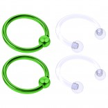 4pc Green Anodized 16 Gauge Captive Hoop Ring Piercing Jewelry 16g Nose Eyebrow Tragus Cartilage Septum 3mm Ball Circular Barbell Horseshoe Retainers - 10mm 3/8