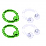4pc Green Anodized 16 Gauge Captive Hoop Ring Piercing Jewelry 16g Nose Eyebrow Tragus Cartilage Septum 3mm Ball Circular Barbell Horseshoe Retainers - 6mm 1/4