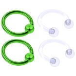 4pc Green Anodized 16 Gauge Captive Hoop Ring Piercing Jewelry 16g Nose Eyebrow Tragus Cartilage Septum 3mm Ball Circular Barbell Horseshoe Retainers - 8mm 5/16