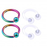 4pc Rainbow Anodized 16 Gauge Captive Hoop Ring Piercing Jewelry 16g Nose Eyebrow Tragus Cartilage Septum 3mm Ball Circular Barbell Horseshoe Retainers - 6mm 1/4