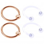 4pc Rose Gold Anodized 16 Gauge Captive Hoop Ring Piercing Jewelry 16g Nose Eyebrow Tragus Cartilage Septum 3mm Ball Circular Barbell Horseshoe Retainers - 10mm 3/8