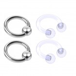 4pc Steel Anodized 16 Gauge Captive Hoop Ring Piercing Jewelry 16g Nose Eyebrow Tragus Cartilage Septum 3mm Ball Circular Barbell Horseshoe Retainers - 6mm 1/4