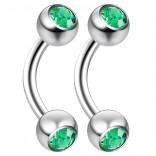 2pc 14 Guage 8mm Surgical Steel Piercing Barbell Curved Crystal Rook Daith Lip 14g Cartilage Labret Bridge Conch Emerald