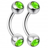2pc 14 Guage 8mm Surgical Steel Piercing Barbell Curved Crystal Rook Daith Lip 14g Cartilage Labret Bridge Conch Peridot