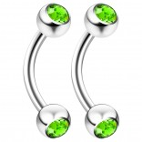 2pc 16g 6mm 1/4 Curved Barbell Ring Piercing Jewelry Rook Cartilage Tragus Daith Eyebrow Nipple 3mm Crystal 16 Gauge - Peridot