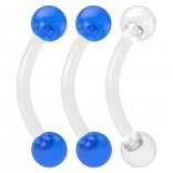 2pc 16g Flexible Acrylic Curved Rings Barbells Rook Blue Tragus Eyebrow Cartilage - Clear Retainer