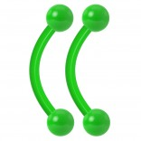 2pc 14g Green Dental-Grade Acrylic Curved Barbell 4mm Ball Eyebrow Belly Bar Lip Tragus Ring Piercing Jewelry - 10mm