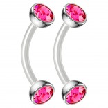 2pc 16g Bioflex Curved Barbell Vertical Labret Lip Ring Tragus Cartilage Eyebrow Rose Crystal Gem
