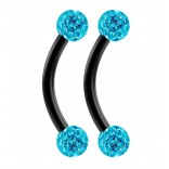 2pc 16g Black Curved Barbell 8mm Crystal Ring Cartilage Rook Daith Eyebrow Helix Ferido Aqua Blue