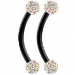 2pc 16g Black Curved Barbell 10mm 3/8 Crystal Ring Cartilage Rook Daith Helix Aurora Borealis AB