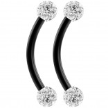 2pc 16g Black Curved Barbell 10mm Crystal Ring Cartilage Rook Daith Eyebrow Helix Cubic Zirconia
