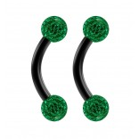 2pc 16g Black Curved Barbell 6mm Crystal Ring Cartilage Rook Daith Eyebrow Helix Emerald Ferido