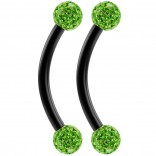 2pc 16g Black Curved Barbell 10mm Crystal Ring Cartilage Rook Daith Eyebrow Helix Ferido Peridot