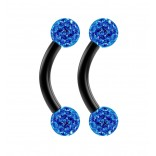 2pc 16g Black Curved Barbell 6mm Crystal Ring Cartilage Rook Daith Eyebrow Helix Ferido Sapphire