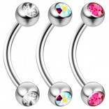 2pc 16 Guage 8mm Surgical Steel Piercing Barbell Curved Crystal Rook Daith Lip 16g Cartilage Labret Bridge Conch Peridot