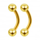 2pc 16g Curved Barbell 16g Vertical Labret Jewelry Gold Women Cartilage Bar Cruve Daith Earrings 6mm