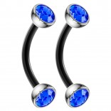 2pc 16g Black Curved Barbell Cartilage Sapphire CZ Tragus Eyebrow Surgical Steel Helix Earring Rook Studs 8mm