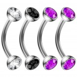 4pc 16g Curved Barbell Cartilage CZ Tragus Eyebrow Surgical Steel Amethyst Earring Rook Studs 8mm