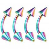 4pc Curved Barbell 16g Rainbow Vertical Labret Lip Industrial Earrings Spike Eyebrow Nipplering 10mm