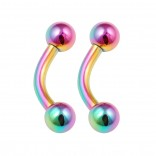 2pc Curved Barbell 16g Rainbow Vertical Labret Lip Industrial Earrings Daith Tragus Women Steel 6mm