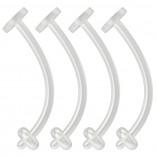 4pc 16g Cartilage Piercing Retainer Flexible Clear BioFlex Curved Barbell Bioplast Piercing 12mm 1/2