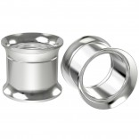 2pc 1/2 Stainless Steel Tunnel Plugs Double Flare Expander Earrings Gauges Internally Threaded Screw