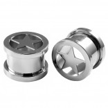 2pc 1/2 Ear Gauges Star Screw Fit Flesh Tunnels Surgical Steel Expander Stretcher Plugs Double Flared For Gauging Out