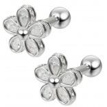 2pc 16g Cubic Zirconia CZ Flower Gem Barbell Studs 1/4 6mm Cartilage Earring Forward Helix Steel