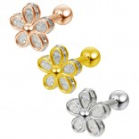 3pc Cubic Zirconia CZ Flower Gem Barbell Studs 16g Cartilage Earring Forward Helix 1/4 Tragus Helix