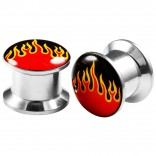 2pcs Internally Threaded Tunnels Screw Flame Logo Double Flared Plug Ear Gauge Expander 10mm 00g