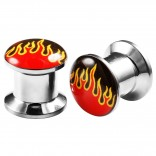 2pcs Internally Threaded Tunnels Screw Flame Logo Double Flared Plug Ear Gauge Expander 8mm 0g
