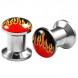 2pcs Internally Threaded Tunnels Screw Flame Logo Double Flared Plug Ear Gauge Expander 6mm 2g