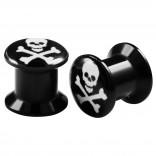 2pcs Internally Threaded Tunnels Screw Skull Logo Double Flared Plug Ear Gauge Expander 8mm 0g