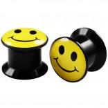 2pcs Internally Threaded Tunnels Screw Smiley Logo Double Flared Plug Ear Gauge Expander 10mm 00g