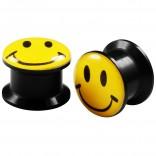 2pcs Internally Threaded Tunnels Screw Smiley Logo Double Flared Plug Ear Gauge Expander