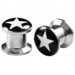 2pcs Internally Threaded Tunnels Screw Star Logo Double Flared Plug Ear Gauge Expander 8mm 0g