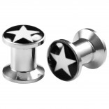 2pcs Internally Threaded Tunnels Screw Star Logo Double Flared Plug Ear Gauge Expander 6mm 2g
